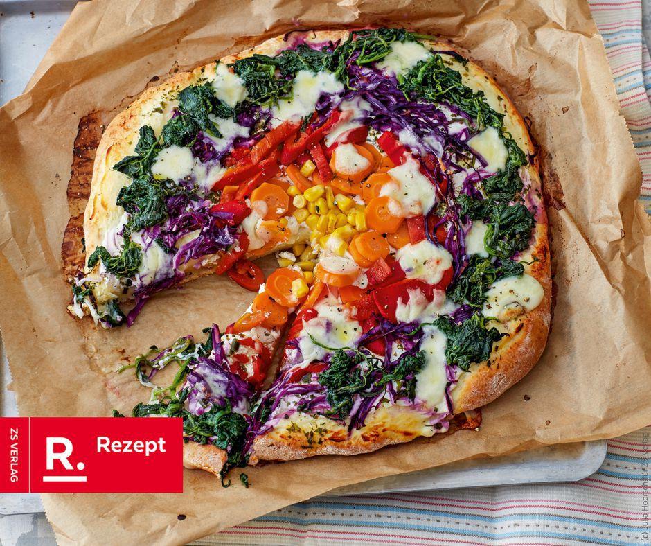 Amerikanische Regenbogenpizza - Rezept Bild