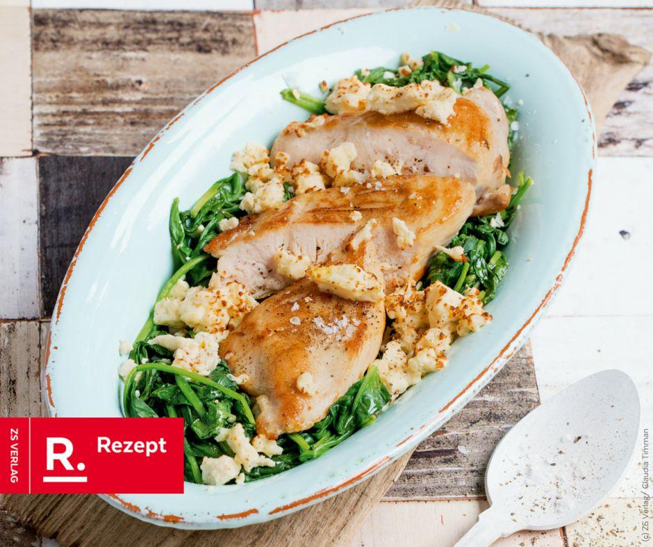 Hähnchenbrustfilet mit Spinat und Schafskäse - Rezept Bild