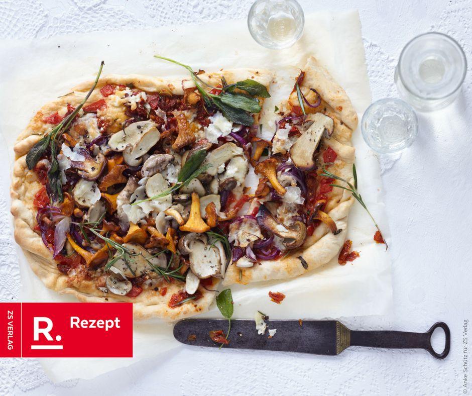 Pizza mit Waldpilzen - Rezept Bild