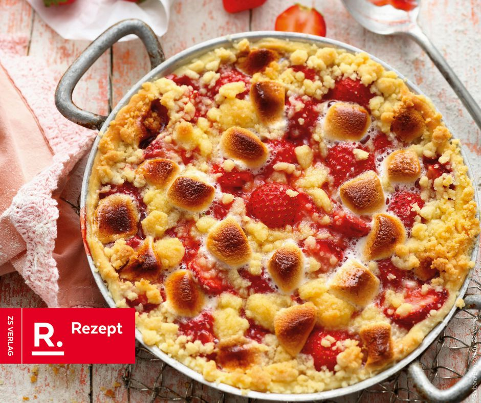 Erdbeer-Crumble mit Marshmallows - Rezept Bild
