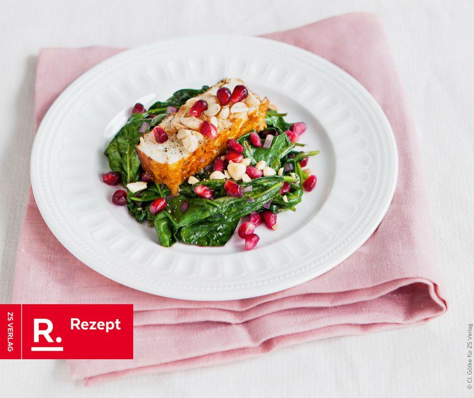 Halloumi mit Spinat und Granatapfel - Rezept Bild