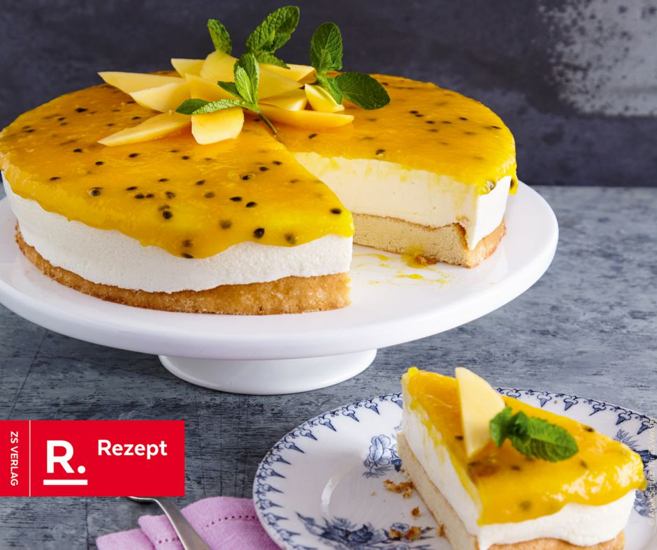 Maracuja-Quarksahne-Torte - Rezept Bild