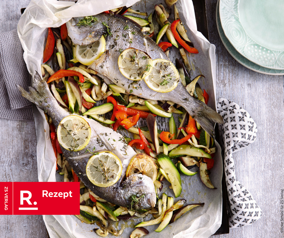 Dorade aus dem Ofen mit Gemüsepommes - Rezept Bild