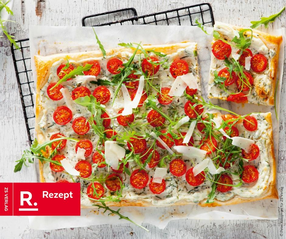 Tomatentarte mit Rucola - Rezept Bild