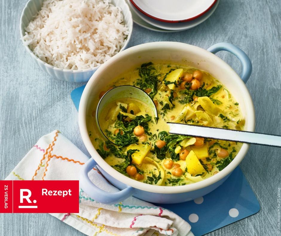 Kartoffel-Curry mit Spinat und Kichererbsen - Rezept Bild