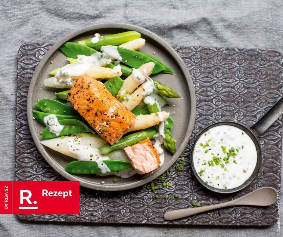Spargelsalat mit Lachs von den Ernährungsdocs - Rezept Bild