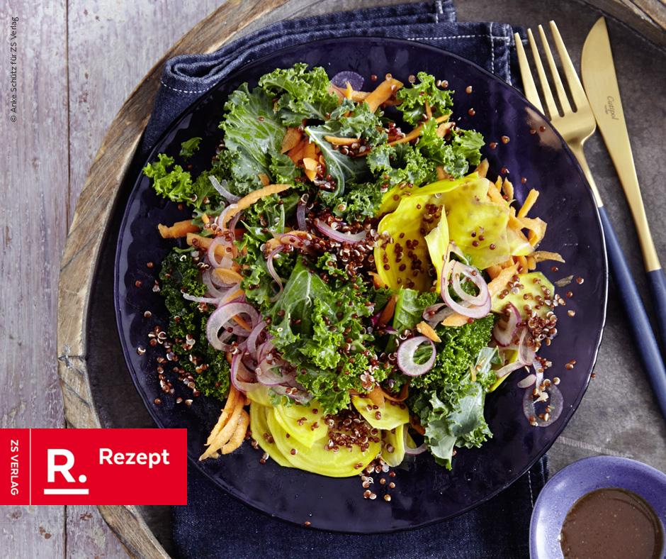 Grünkohlsalat mit Gelber Bete und Möhre - Rezept Bild