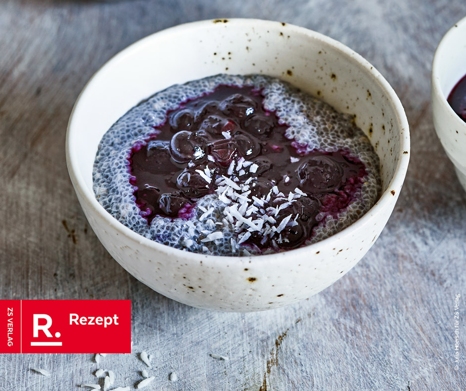 Chia-Pudding mit Blaubeeren - Rezept Bild