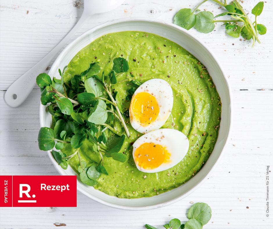 Grüne Smoothie-Bowl mit Ei - Rezept Bild