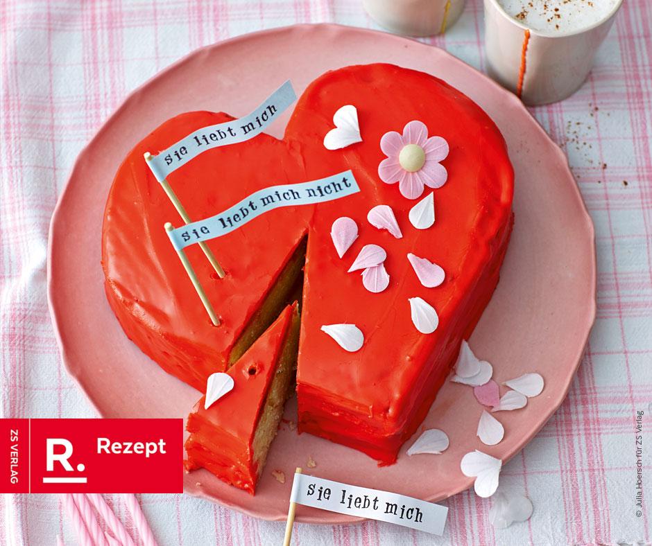 Mandel-Herz-Torte für den Valentinstag - Rezept Bild