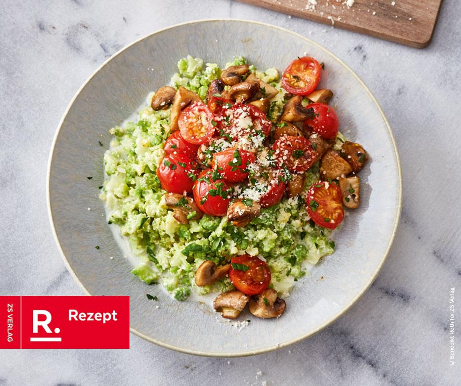 Romanesco-Risotto mit Pilzen und Tomaten - Rezept Bild