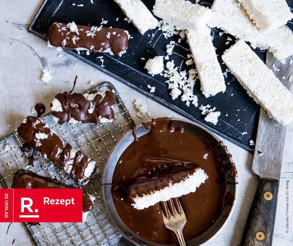 Vegane Kokosriegel mit Bitterschokolade und Vanille - Rezept Bild