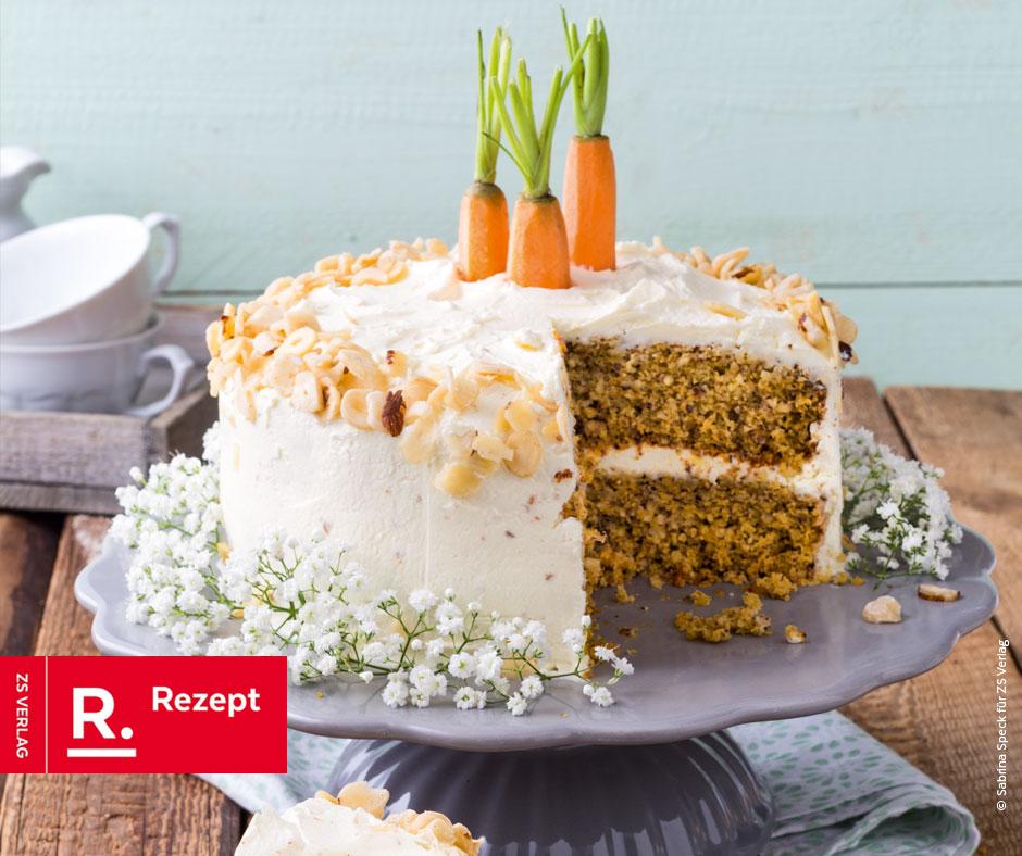 Low Carb Carrot Cake mit Haselnüssen - Rezept Bild