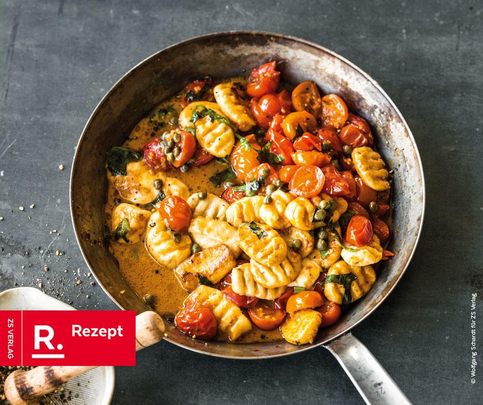 Ricotta-Gnocchi mit geschmolzenen Tomaten & Kapern - Rezept Bild