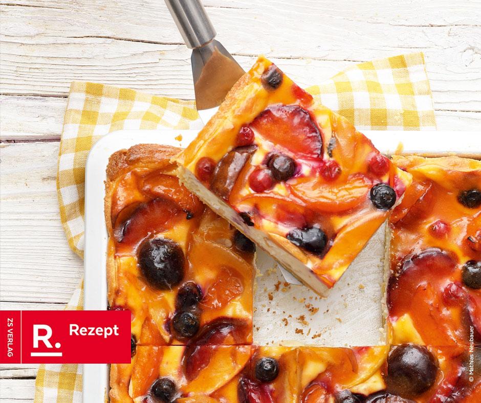 Sommerkuchen mit Mürbeteig und Quark - Rezept Bild