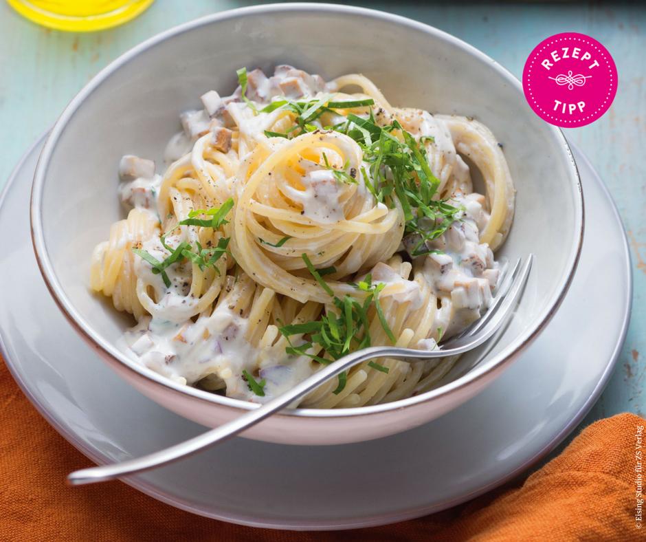 """Spaghetti alla carbonara """"veggie"""" - Rezept Bild"""