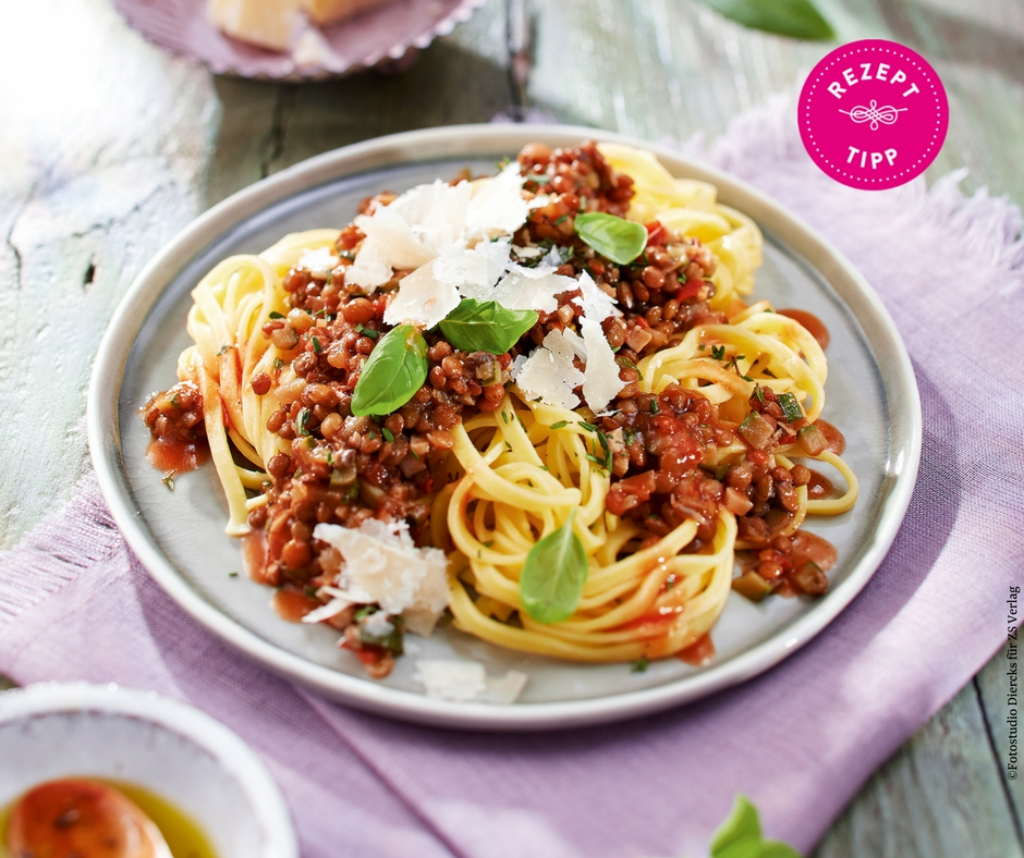 Vegane Bolognese aus Linsen und Zucchini - Rezept Bild