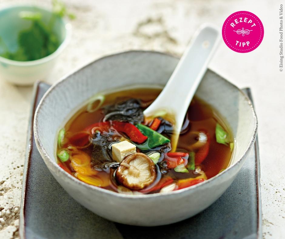 Vegane Misosuppe mit Tofu Rezept - Rezept Bild