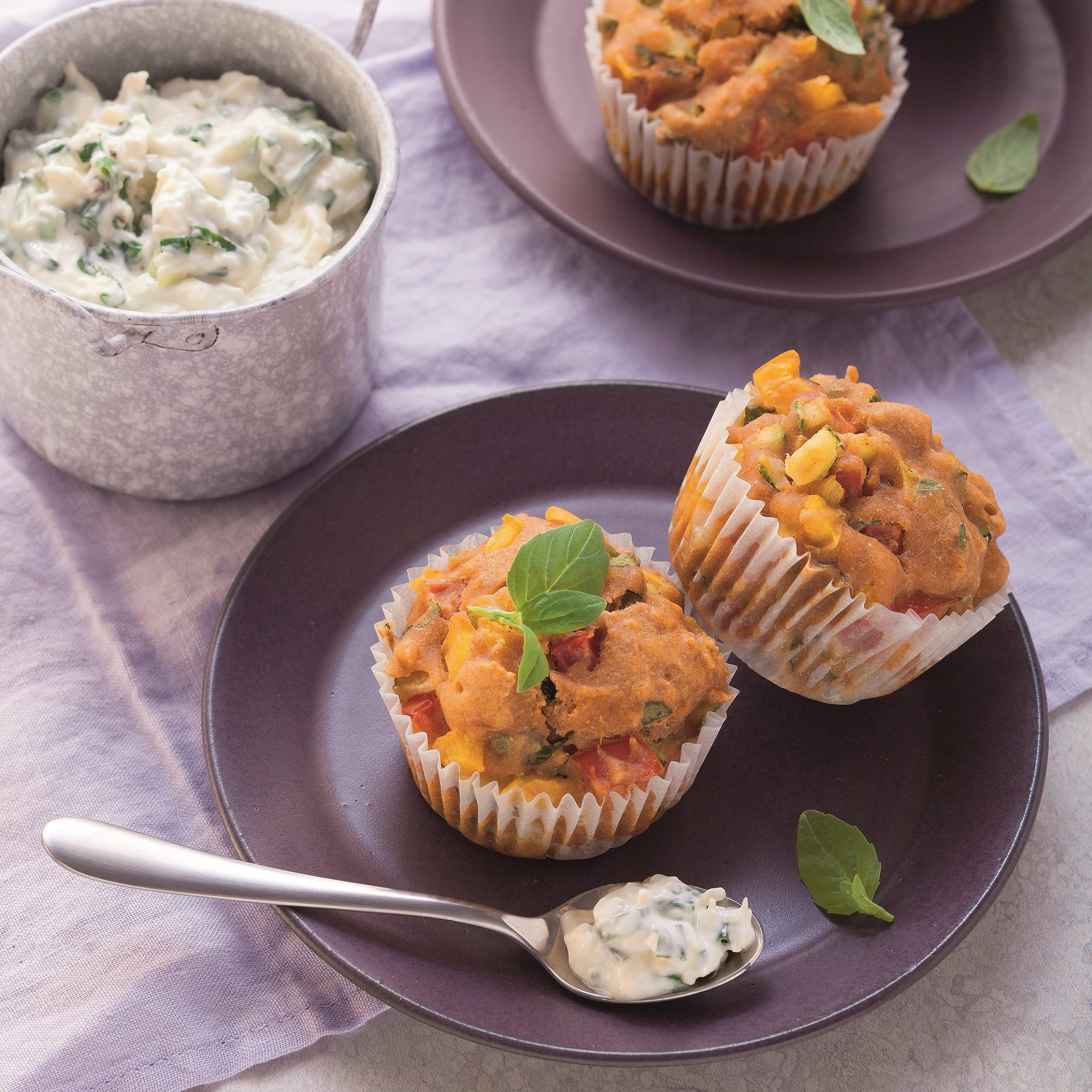 Gemüsemuffins mit Käsedip - Rezept Bild