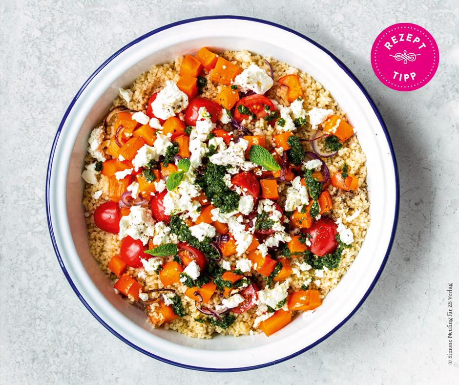 Couscous mit Ofengemüse, Tomaten und Feta - Rezept Bild