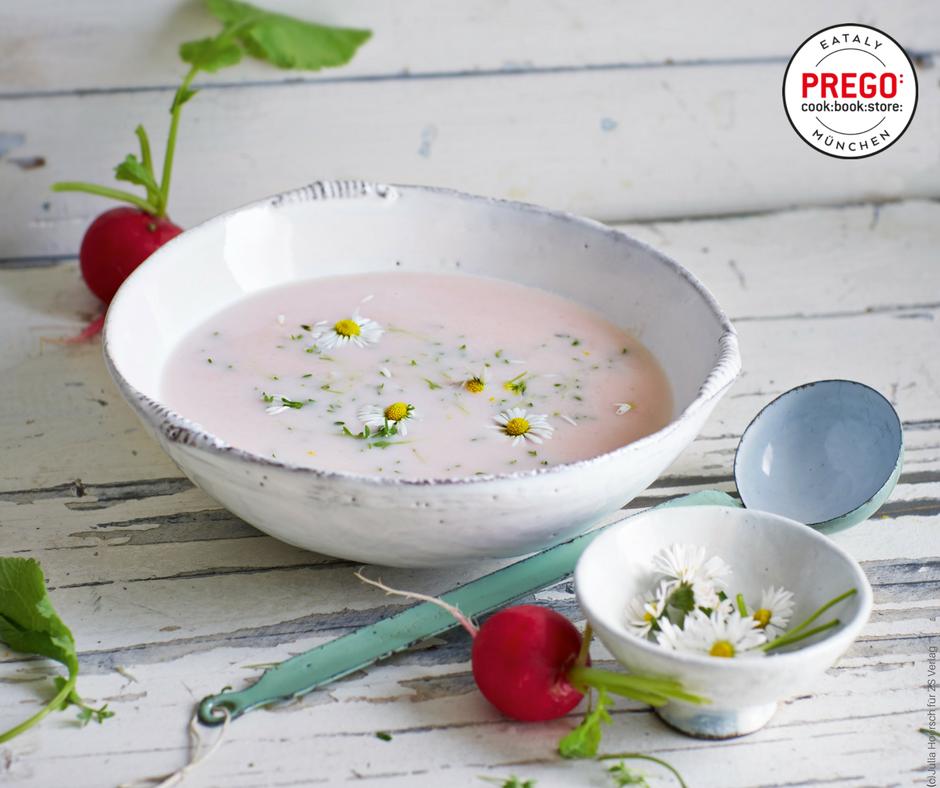 Rosa Radieschensuppe mit Kresse - Rezept Bild