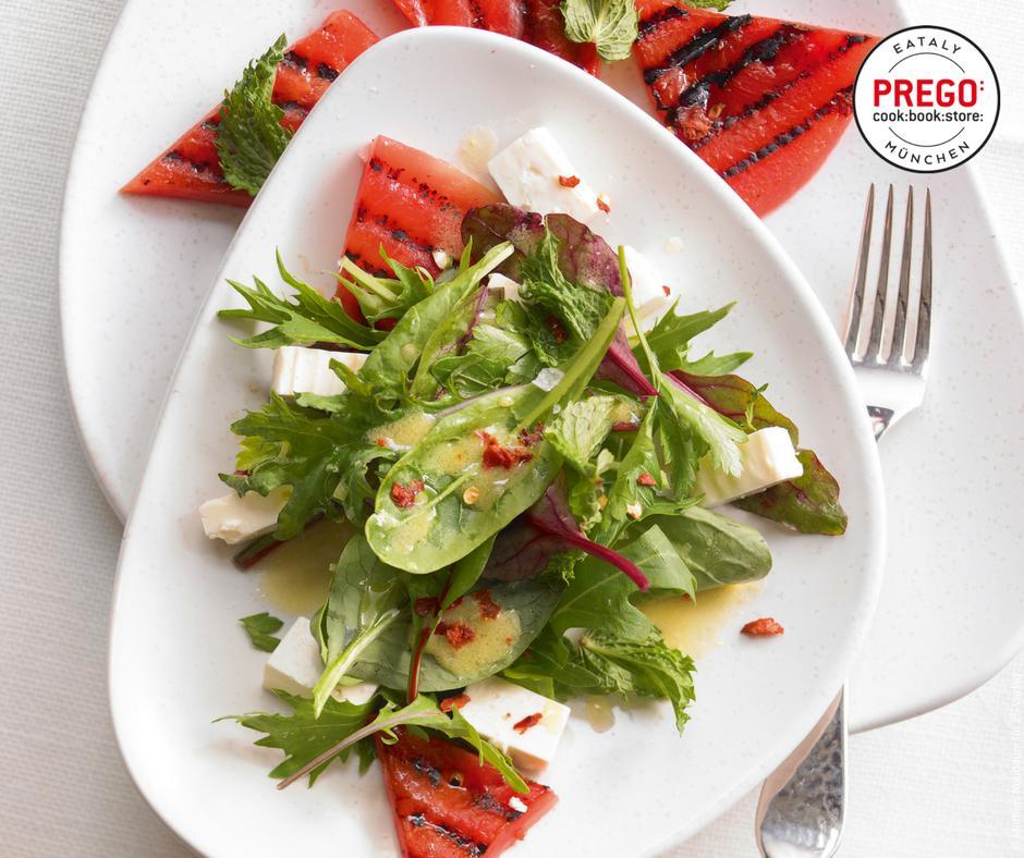 Kräutersalat mit gegrillter Wassermelone und Feta - Rezept Bild