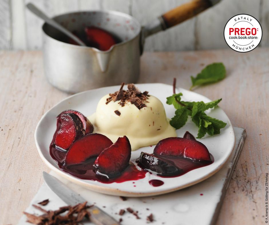 Vanilleparfait mit beschwipsten Pflaumen - Rezept Bild