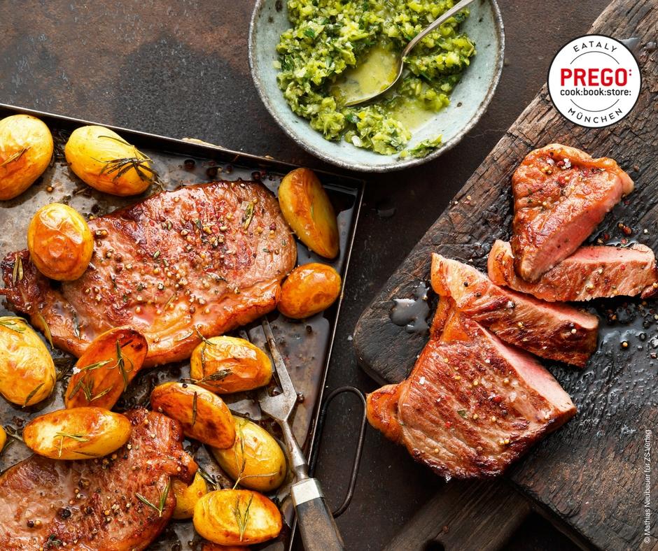 Steak vom Blech mit Rosmarin-Kartoffeln - Rezept Bild