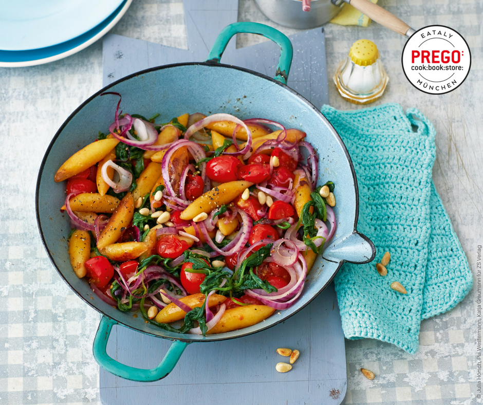 Schupfnudeln mit Tomaten und Spinat - Rezept Bild