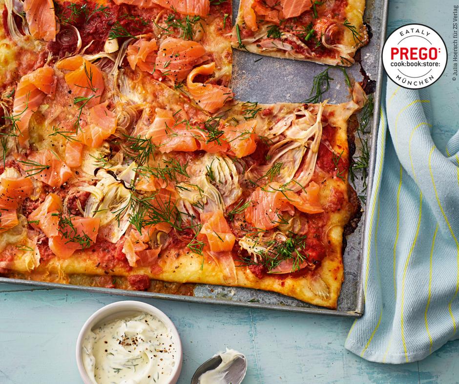 Pizza mit Fenchel und Lachs - Rezept Bild